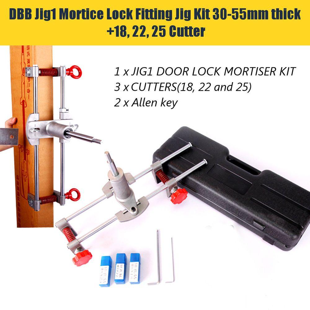 Mortice Door Fitting Jig Door Lock Mortiser Kit JIG1 Hole Saw With 3 Cutters