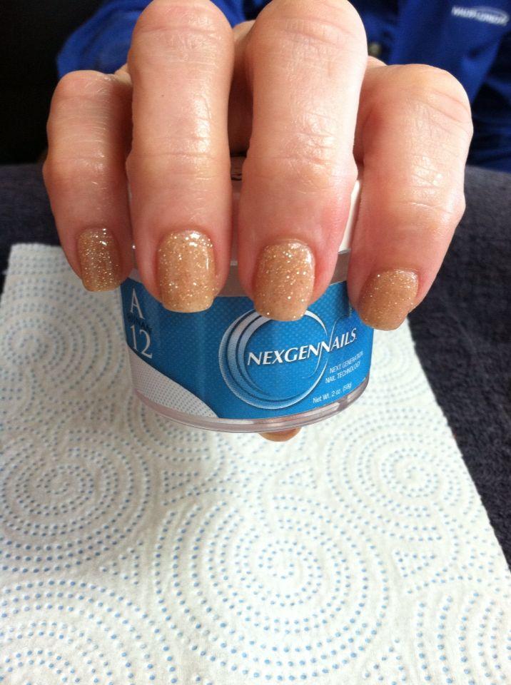 Nexgen Nails A12 Hunan Natural Color With Gold Glitter Nails