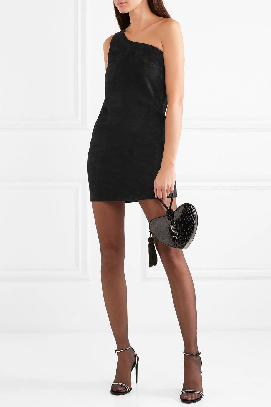 11609c3f53b Saint Laurent   One-shoulder suede mini dress   NET-A-PORTER.COM ...