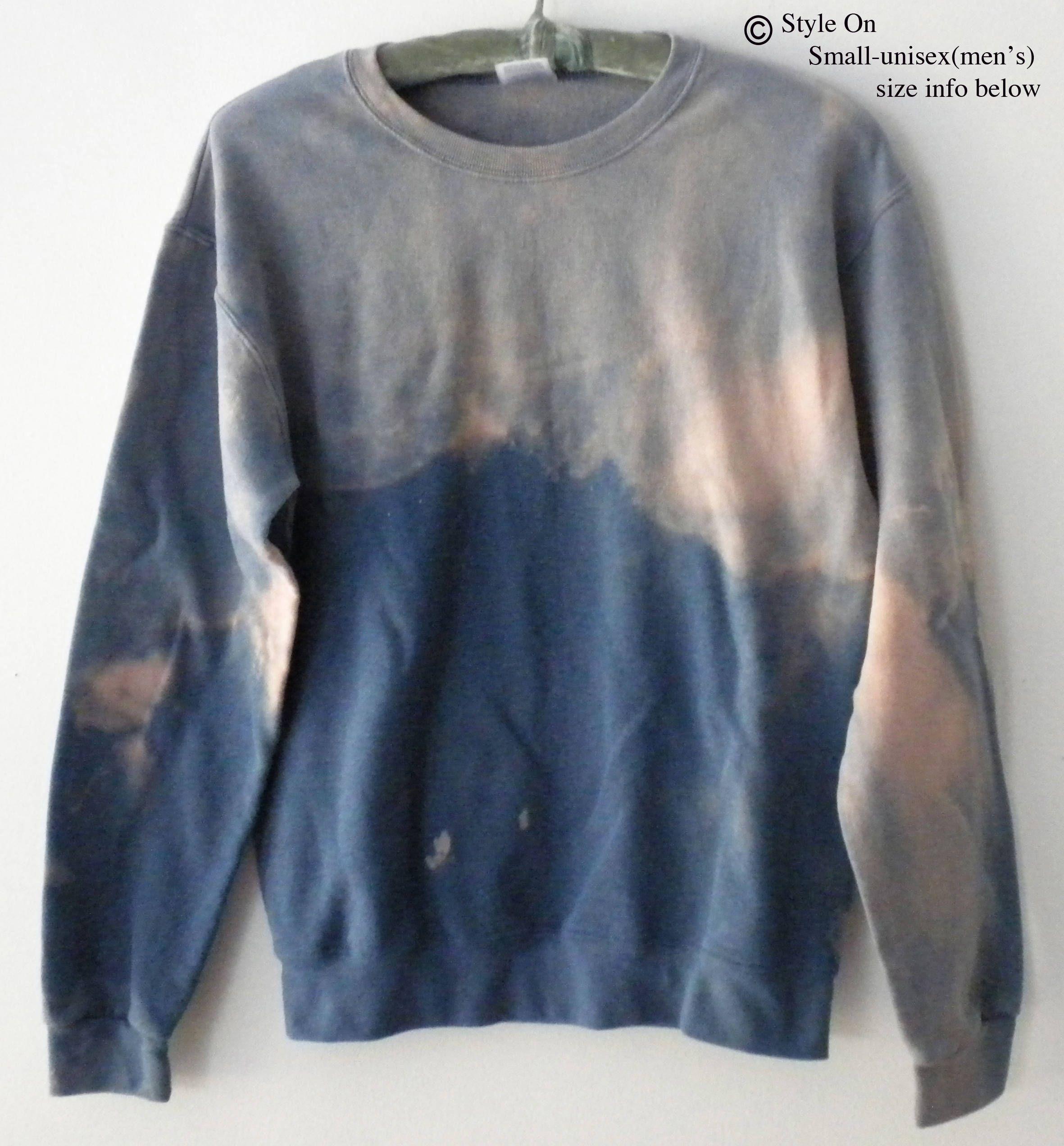 Blue crewneck sweatshirt, dip dyed sweatshirt, ombre sweater, Boho, jumper, sweater, Rocker sweatshirt, acid wash, tie dye, pink, retro