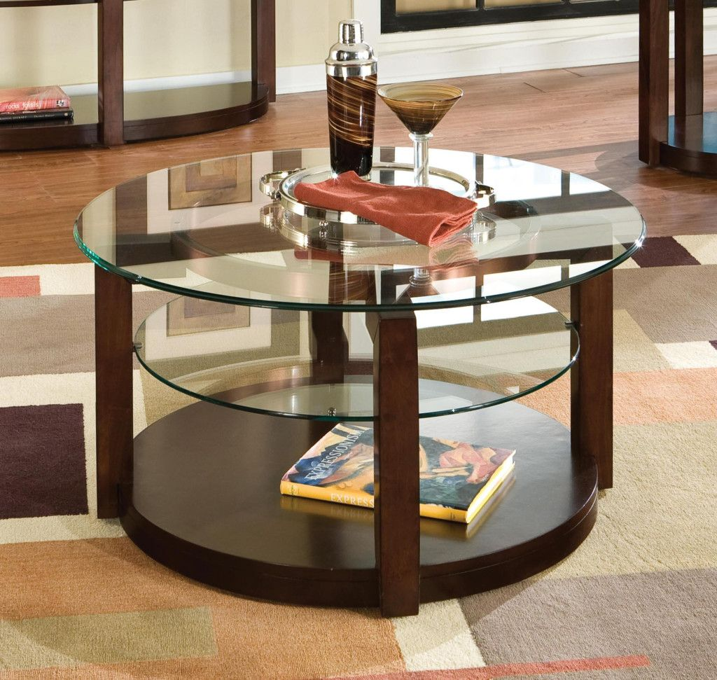 Brunswick round cocktail table coffee tables