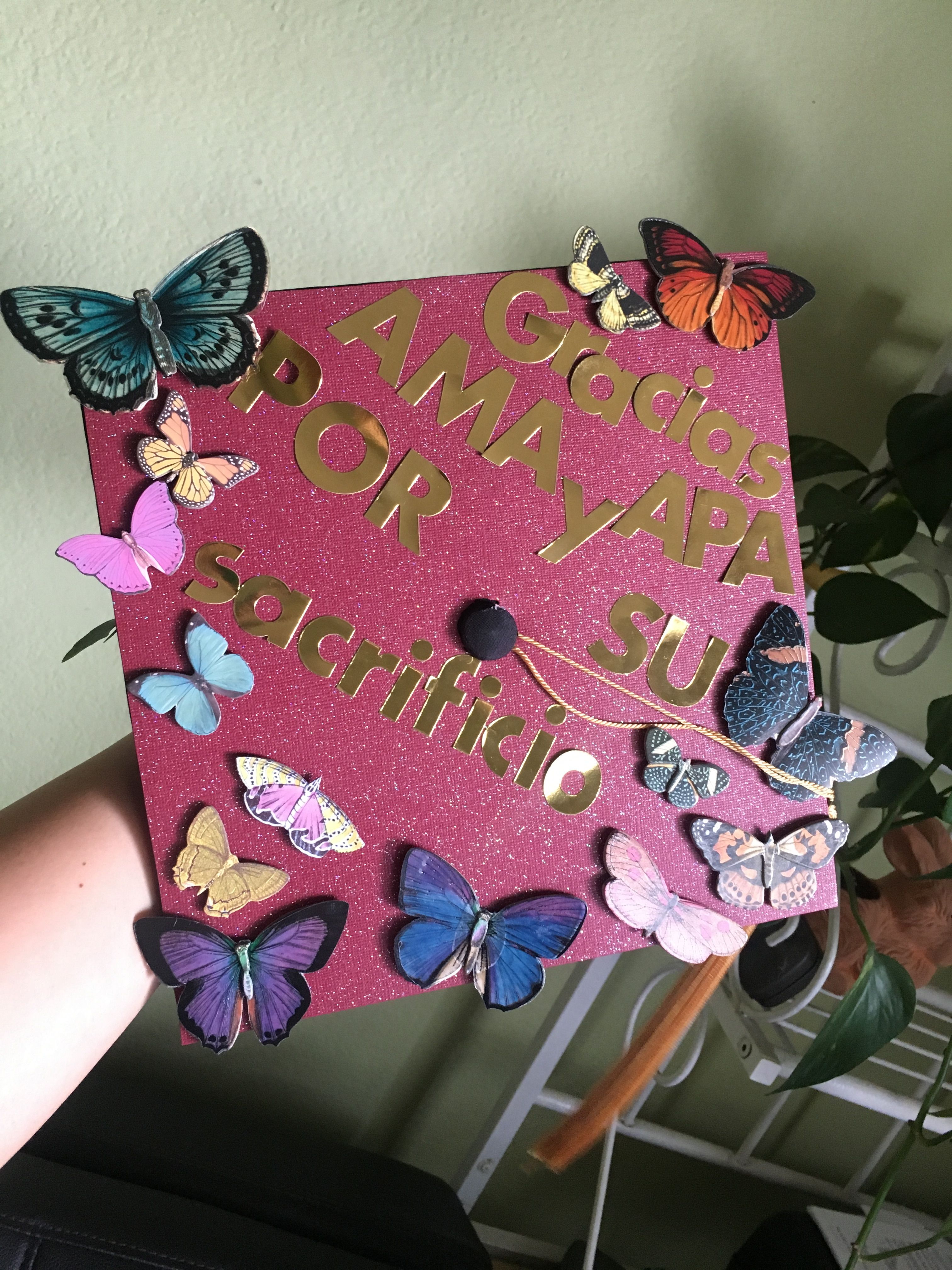 Graduation Cap Decoration Butterflies Mexican Latina Proud