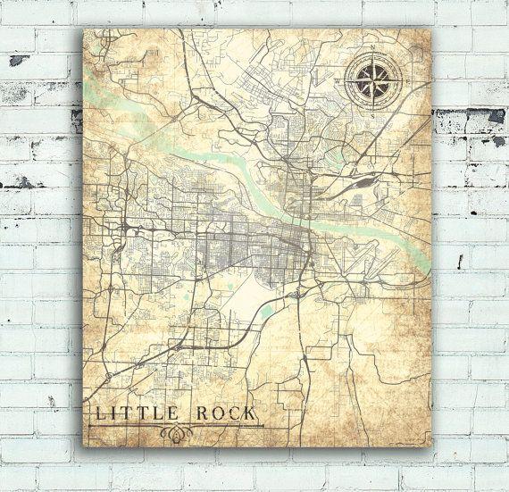 LITTLE ROCK Arkansas Vintage Map Little Rock City Arkansas Vintage - Little rock arkansas on us map