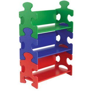 Cute and colorful Puzzle Bookshelf. This would be so cute in my classroom!