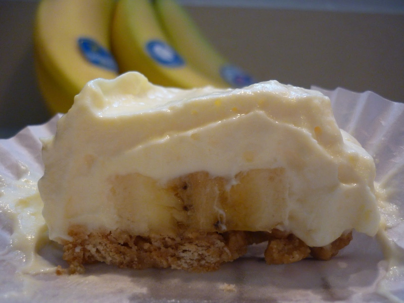 Greek Yogurt Banana Cream Mini Pies ~ 12 oz Plain Greek Yogurt, 1 Package Sugar Free/Fat Free Banana Cream Instant Pudding Mix, 1 cup Fat Free Milk, 1 Banana, 5 Graham Crackers, 3 Tbs Butter (I used I can't Believe It's Not Butter), 12 Cupcake Liners