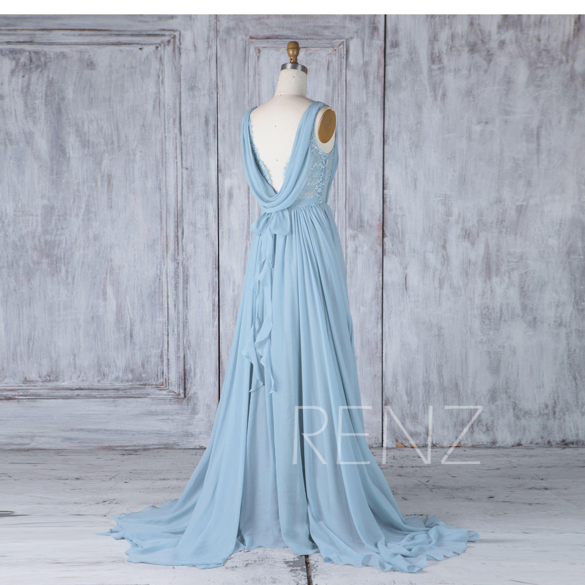 Bridesmaid dress dusty blue chiffon dresswedding dresslace