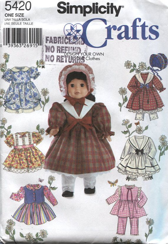 Simplicity 5420, Design Your Own 18 Inch Doll Clothes, Sewing ...