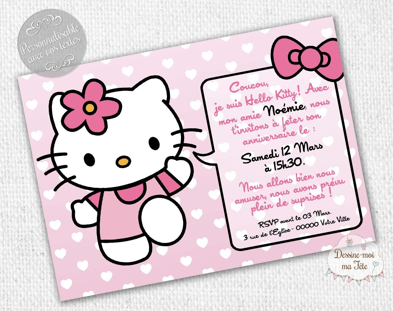 invitation anniversaire hello kitty