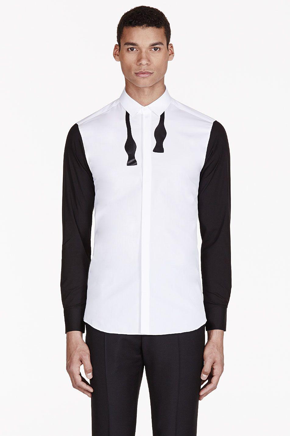 Neil barrett white bow tie print shirt 485 men for Neil barrett tuxedo shirt