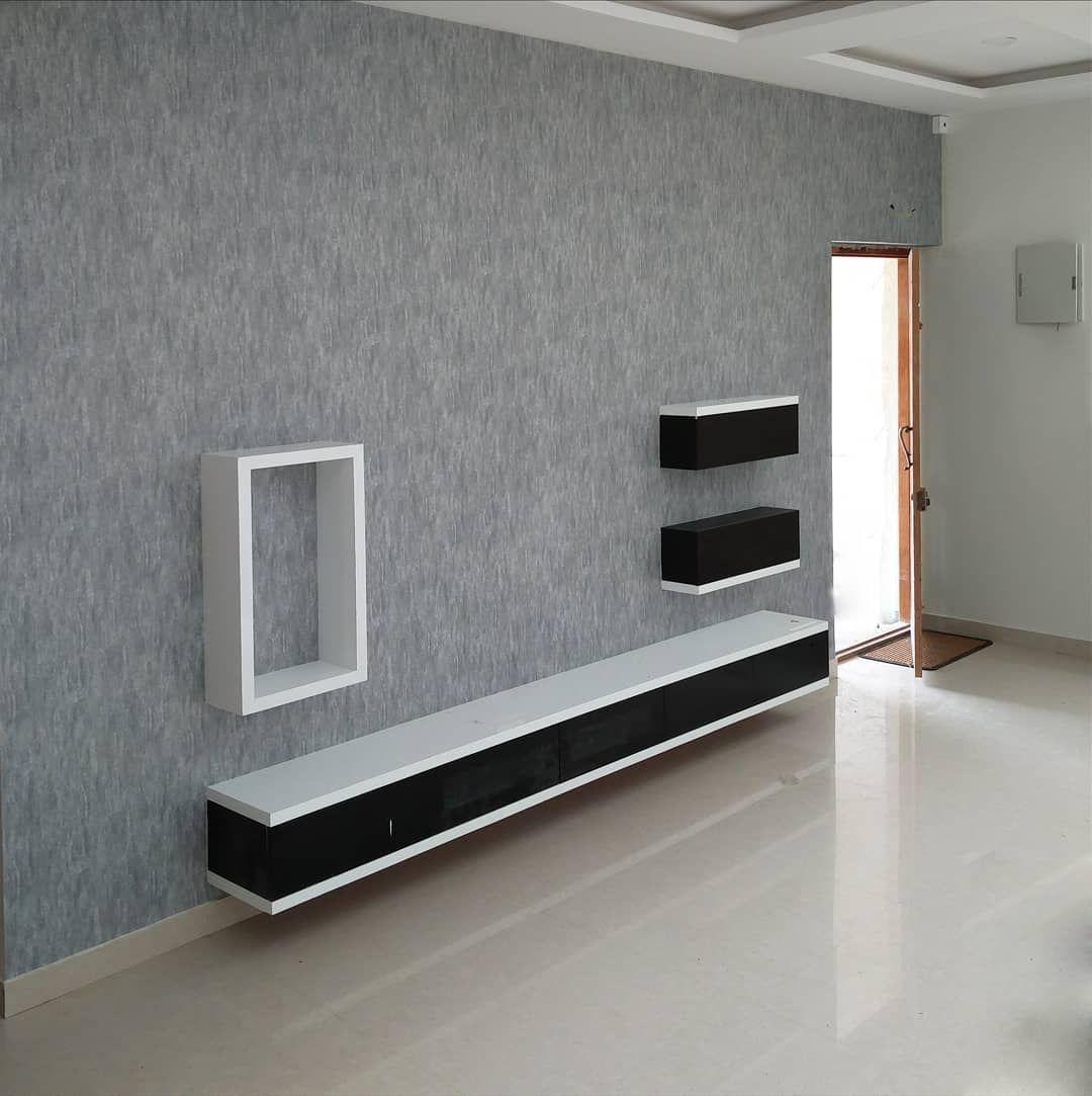 Blue Gray Carved Stone Wallpaper Interior Desig