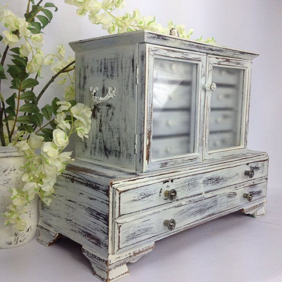 Large white jewelry box shabby chic jewelry organizer beach