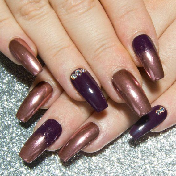 chrome nails rose gold   coffin press on nails   mirror