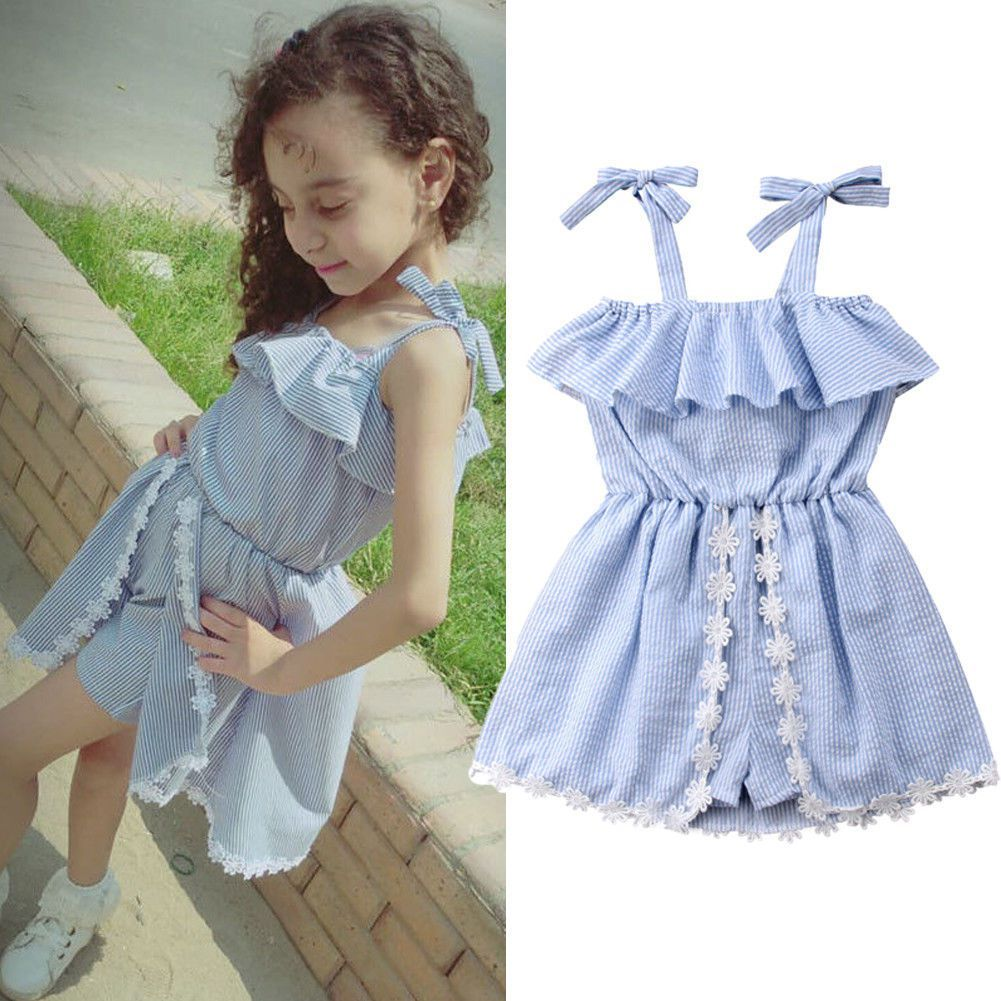 d56a4770ee1dc Toddler Baby Kids Girls Summer Sling Dress Princess Party Wedding Short  Dresses