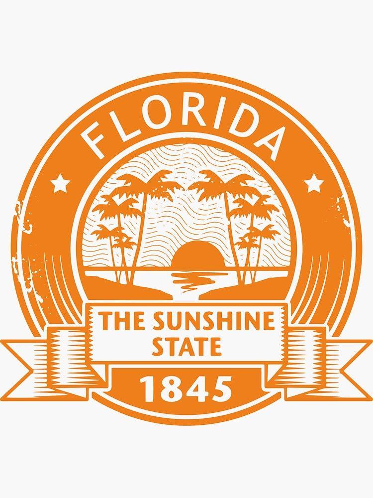 Florida America Usa Travel Stamp Sticker By Dv Ltd