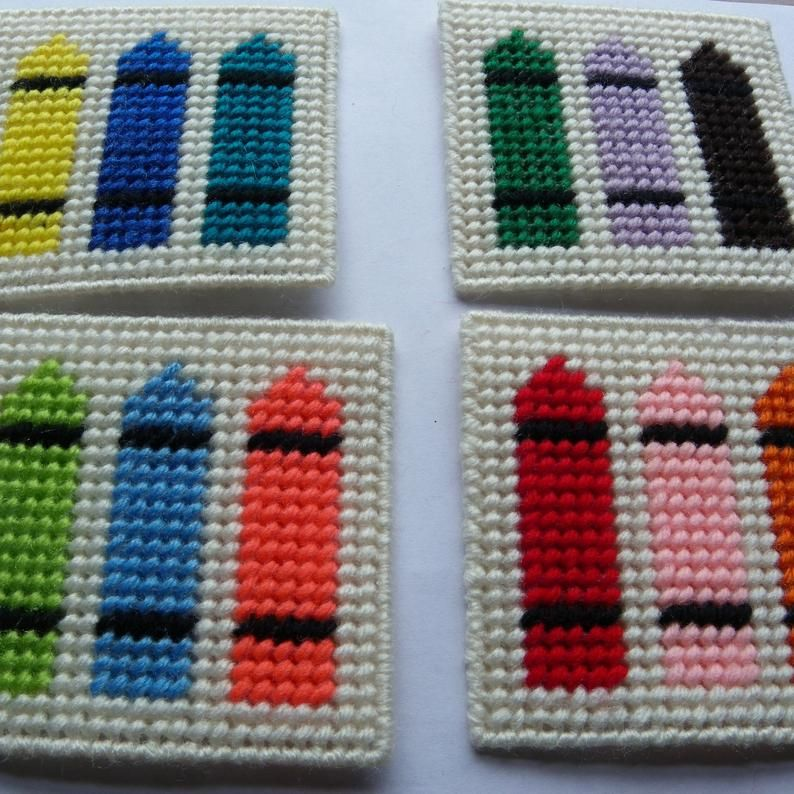Needlepoint on plastic canvas Set of 8 Crayon Magnets