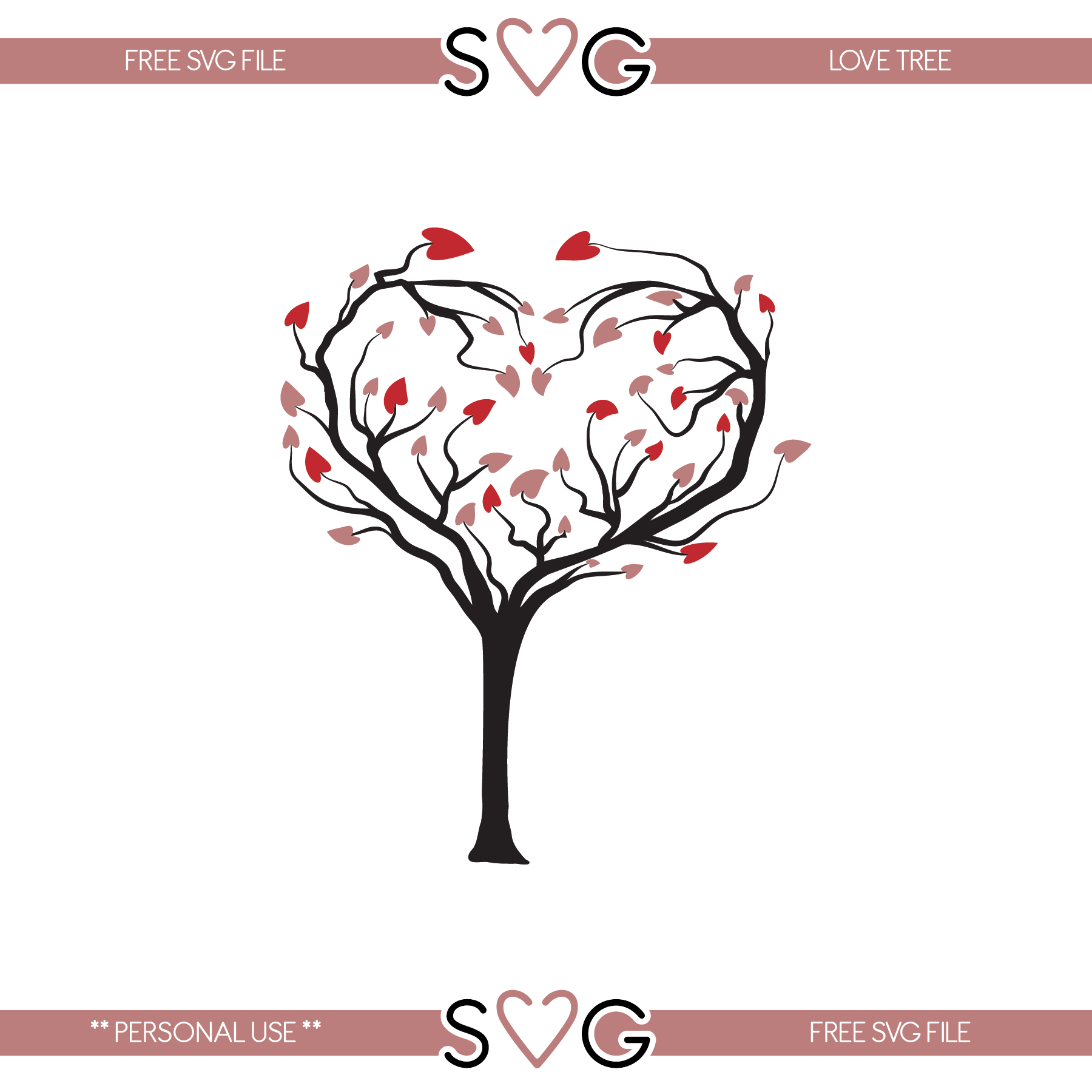 Free svg files Love tree Valentines svg, Free svg