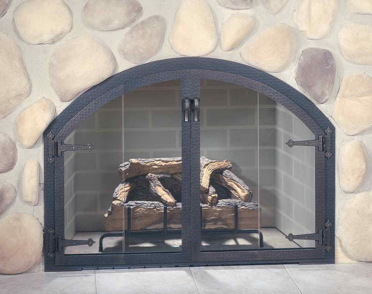 Rustic Cast Iron Fireplace Doors Doors And Center Vertical Door Stiles The Blacksmith Door Has A R Fireplace Glass Doors Fireplace Doors Custom Fireplace