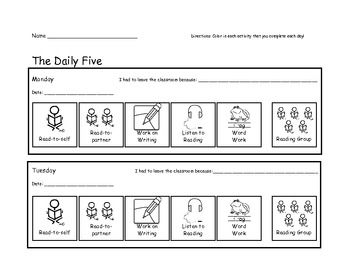 daily 5 check in studemt accountability sheet daily 5 getting