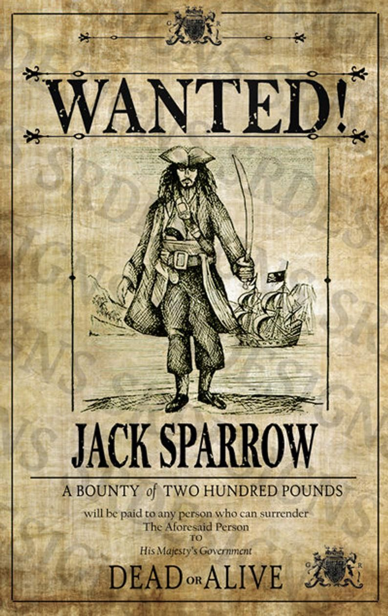 PRINTABLE Pirates of the Caribbean 'WANTED' Poster - Jack Sparrow Poster - Digital Captain Jack Sparrow Artwork