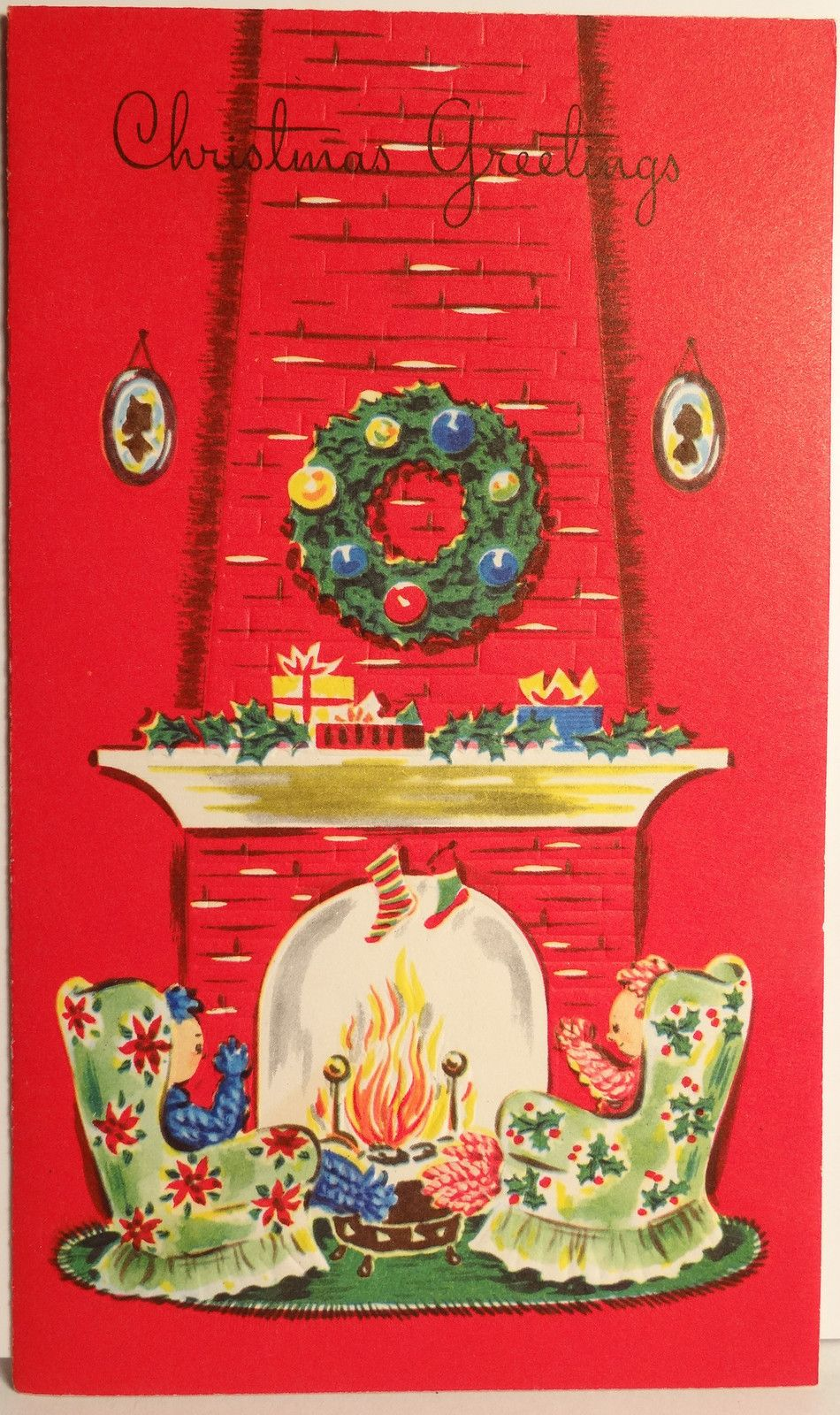 Sitting by the hearth at Christmas. Vintage christmas