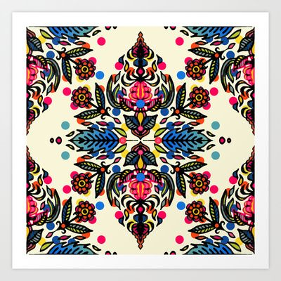 Buy Bright Folk Art Pattern - hot pink, orange, blue & green by Micklyn as a high quality Art Print. Worldwide shipping available at Society6.com. Just…