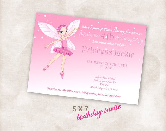 fairy princess party invite printable DIY 5X7 Birthday party invite Invitation Instant Download
