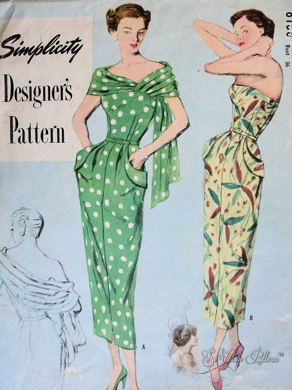 cocktail dress | Vintage dress patterns, Vintage dress