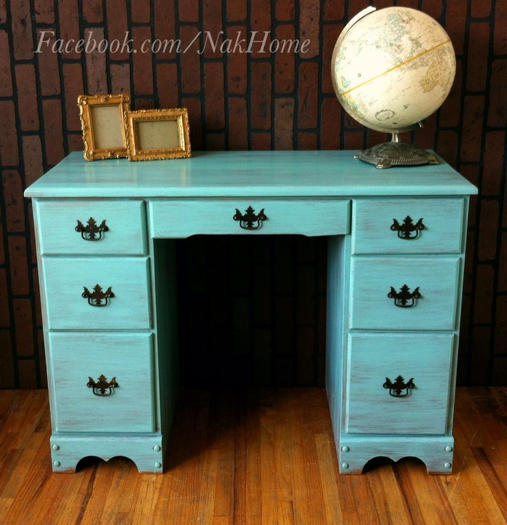 Furniture makeover shabby chic Turquoise mint blue vintage wood vanity desk  hand painted with homemade chalk paint and distressed - Turquoise Desk Painted - Google Search DIY For The Kids