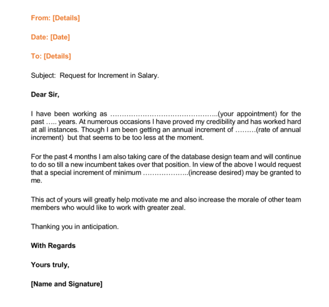 Request Of Increase In Salary Letter