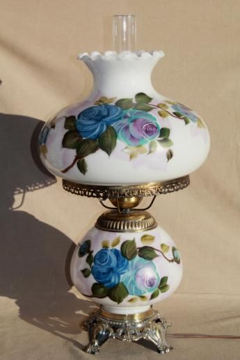 Hand Painted Milk Glass Gone With The Wind Lamp Vintage Quoziel