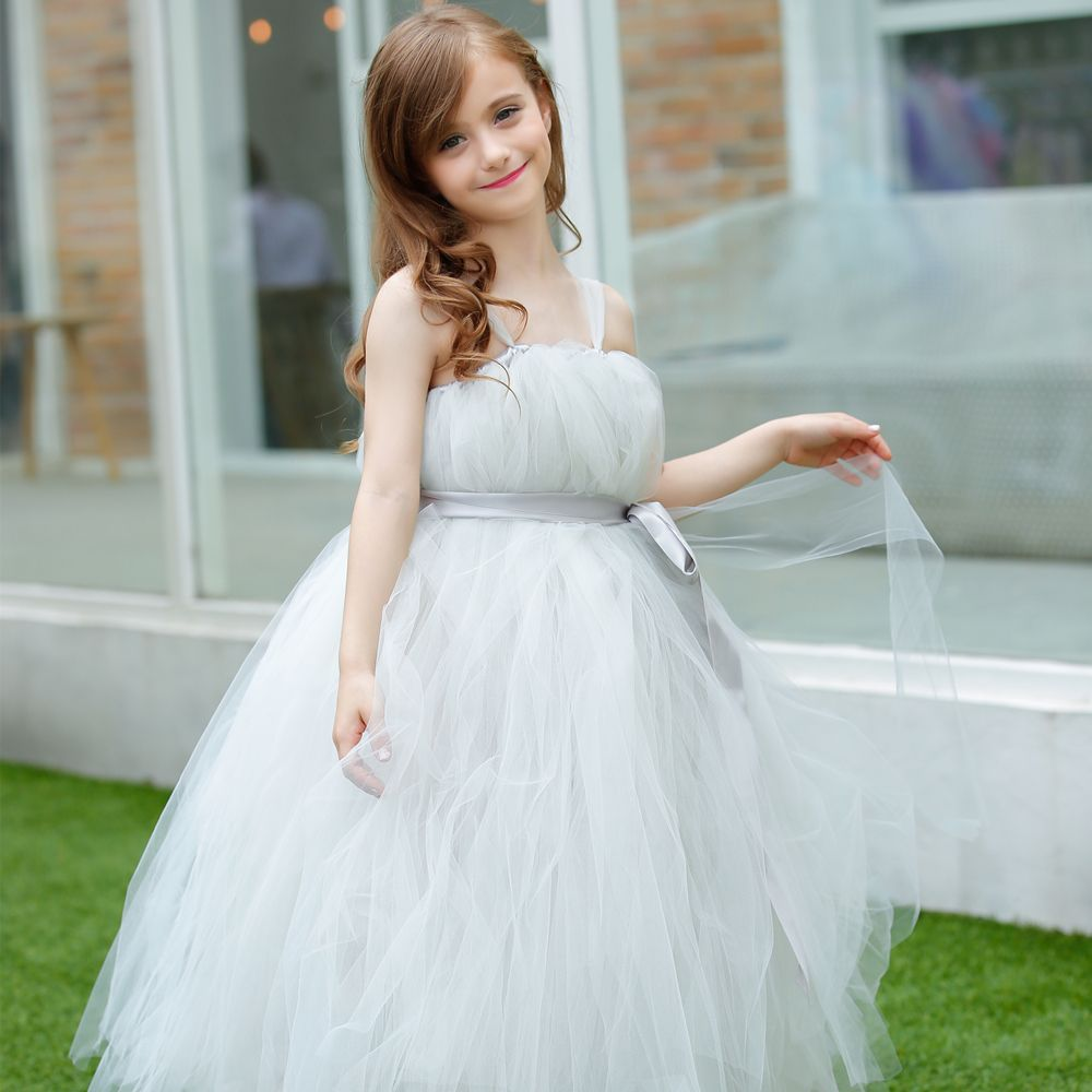Click to Buy << New Charm light Sliver Grey Flower Girl Dress with ...