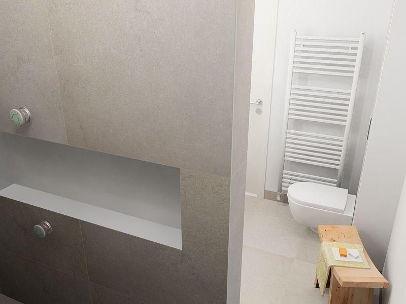 Minimalistisch licht en tijdloos is deze badkamer. in de