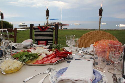 Summer dinner in Tahoe - lots of fresh tomatoes