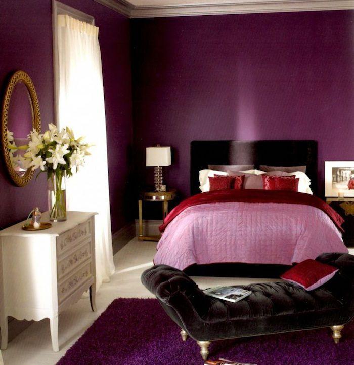 Superieur Couleur Chaude Pour Chambre, Tapisserie Couleur Prune, Décoration Mauve Et  Violet