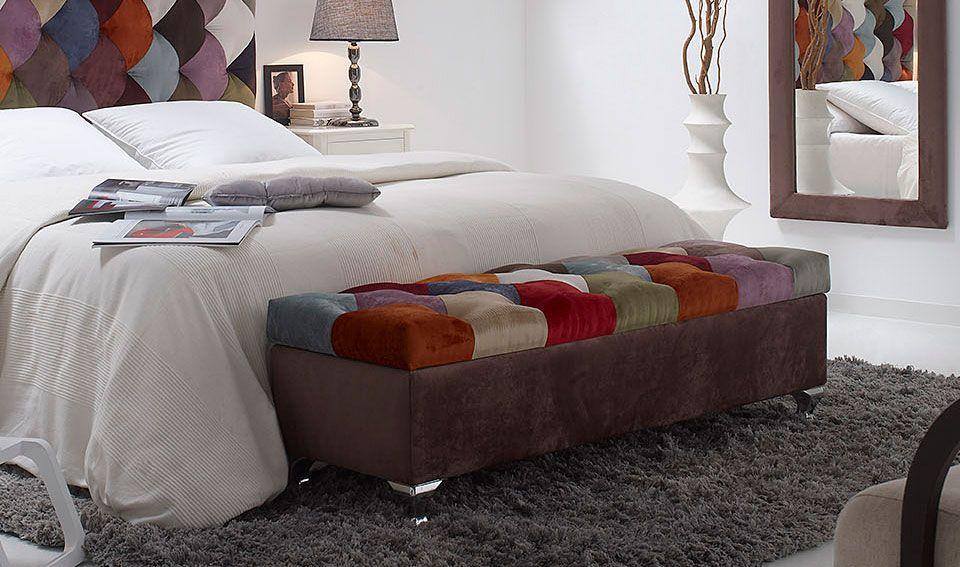Banco pie de cama patchwork rombos Material: Poliester TAPICERIA ...