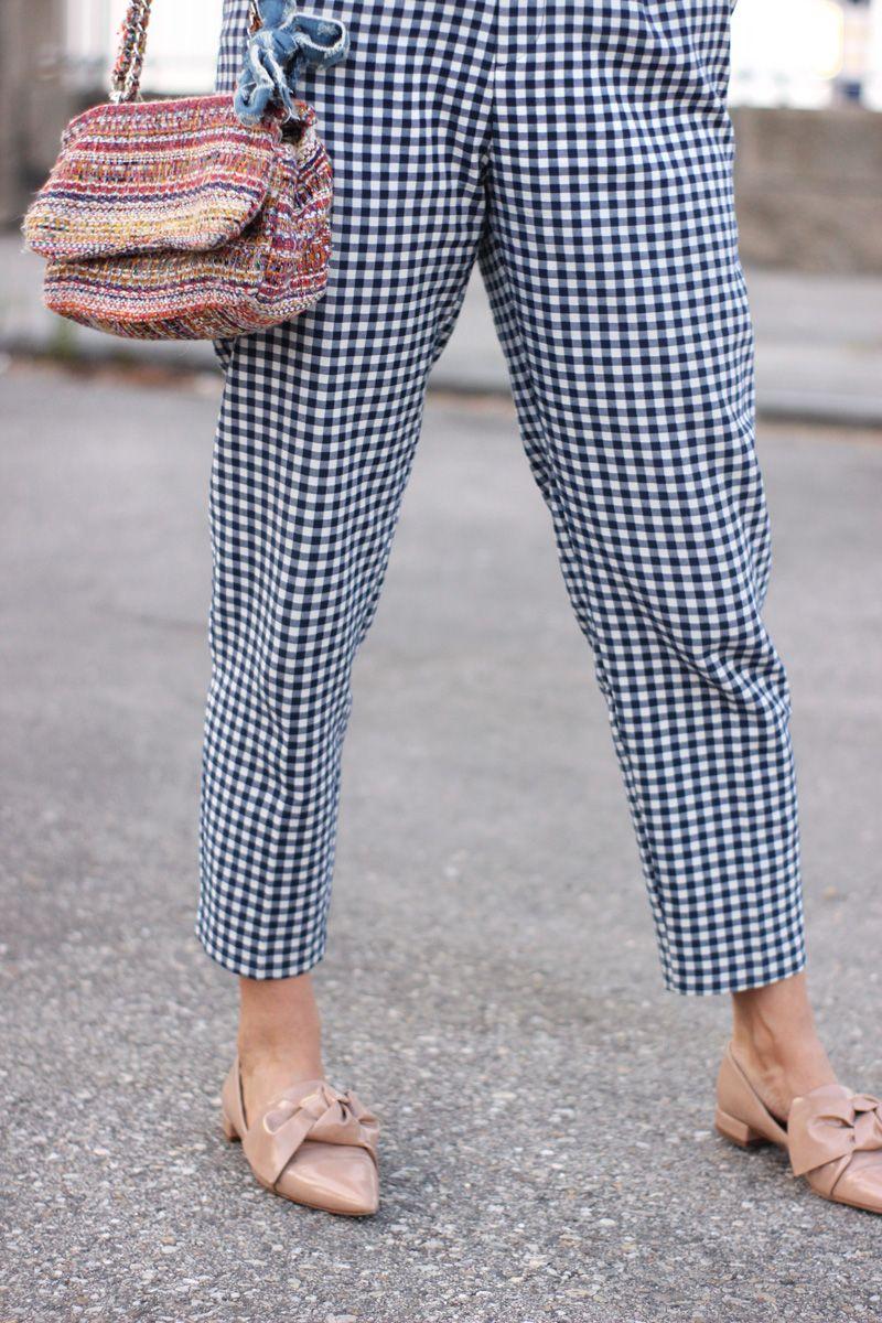 pantalones cuadro vichy zara. Bolso de tweed. Como combinar