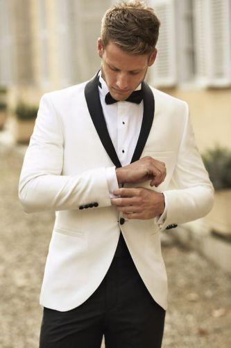 White Groom Tuxedos Men Wedding Suits Black Shawl Lapel And Pants Groomsmen Suit Tuxedo