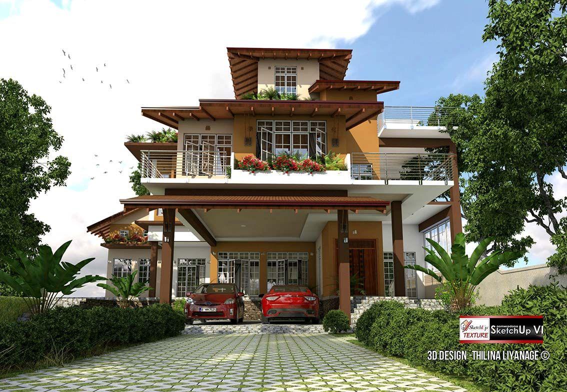3d sketchup model modern villa 35 vray render front view for Pool design sketchup