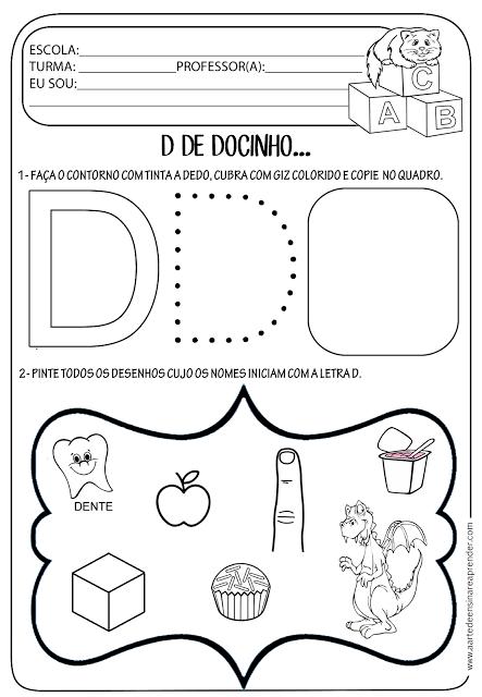 Atividade pronta - Letra D | Educação Infantil | Pinterest | Zeichen ...