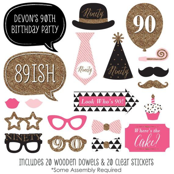 Chic 90th Birthday Pink Black And Gold Party Photo Booth Props