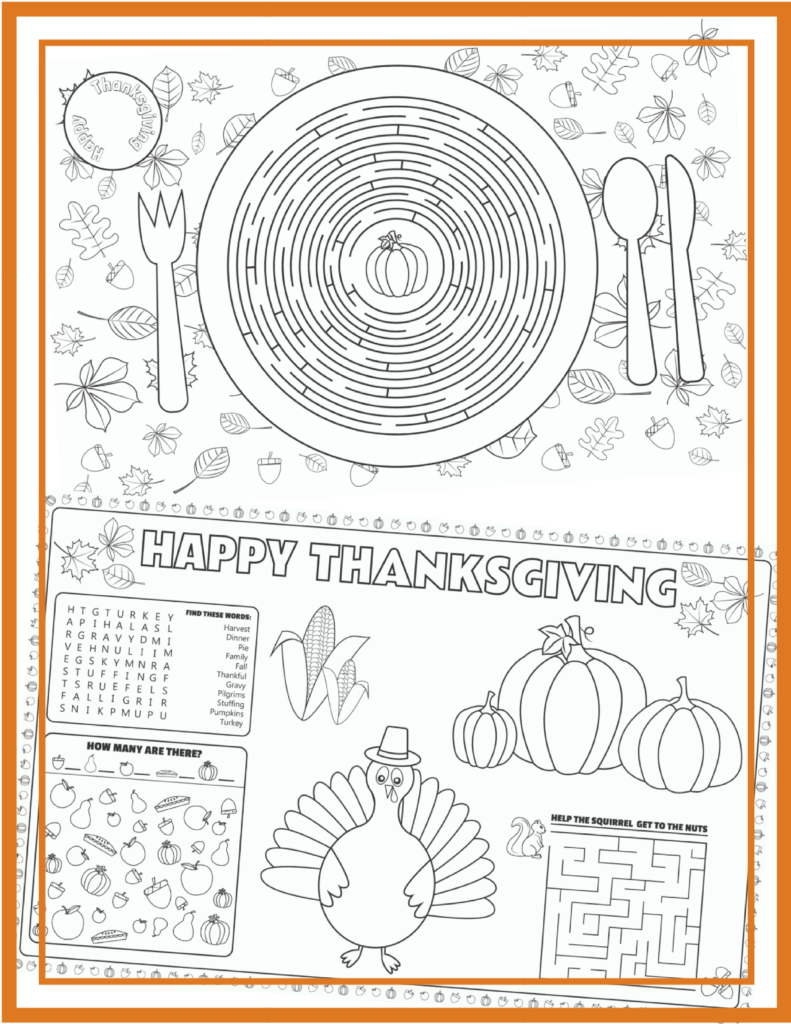 Printable Thanksgiving Placemats For Kids To Solve And Color Thanksgiving Placemats Free Thanksgiving Printables Placemats Kids