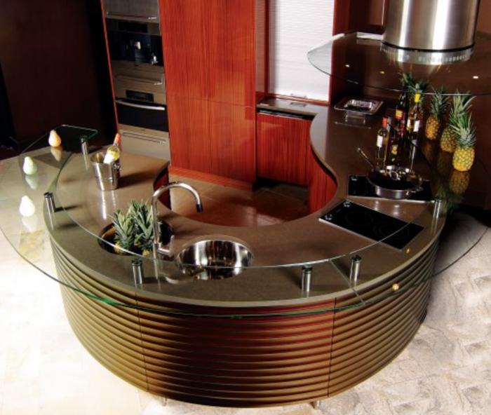 Plan de travail cuisine en verre airone hotte de plan de travail airone titan verre noir with - Bar de cuisine en verre ...