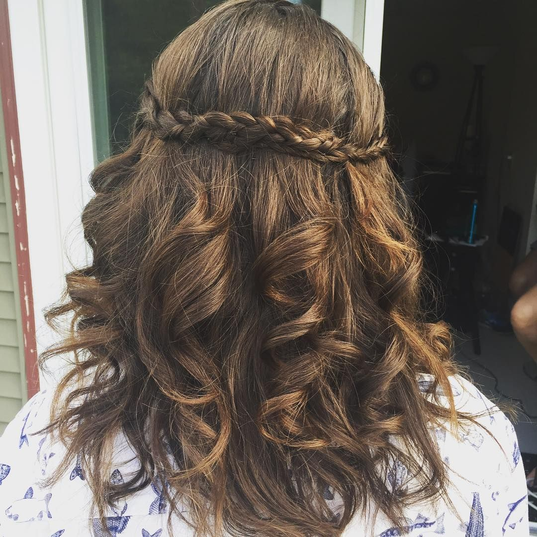 """Braided with loose waves for this bridesmaid #hair  #hairstyle #wedding  #weddinghair  #weddingupdo  #weddingupstyle #prom  #promhair  #promupdo…"""