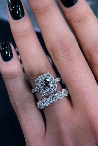 bridal sets halo diamond cushion cut