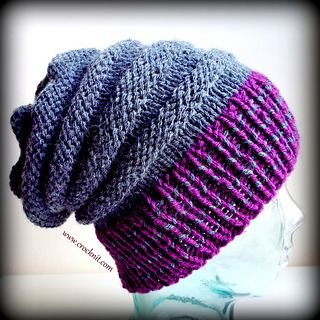 A simple Knit Slouchy Hat using chunky yarn. This is a ...