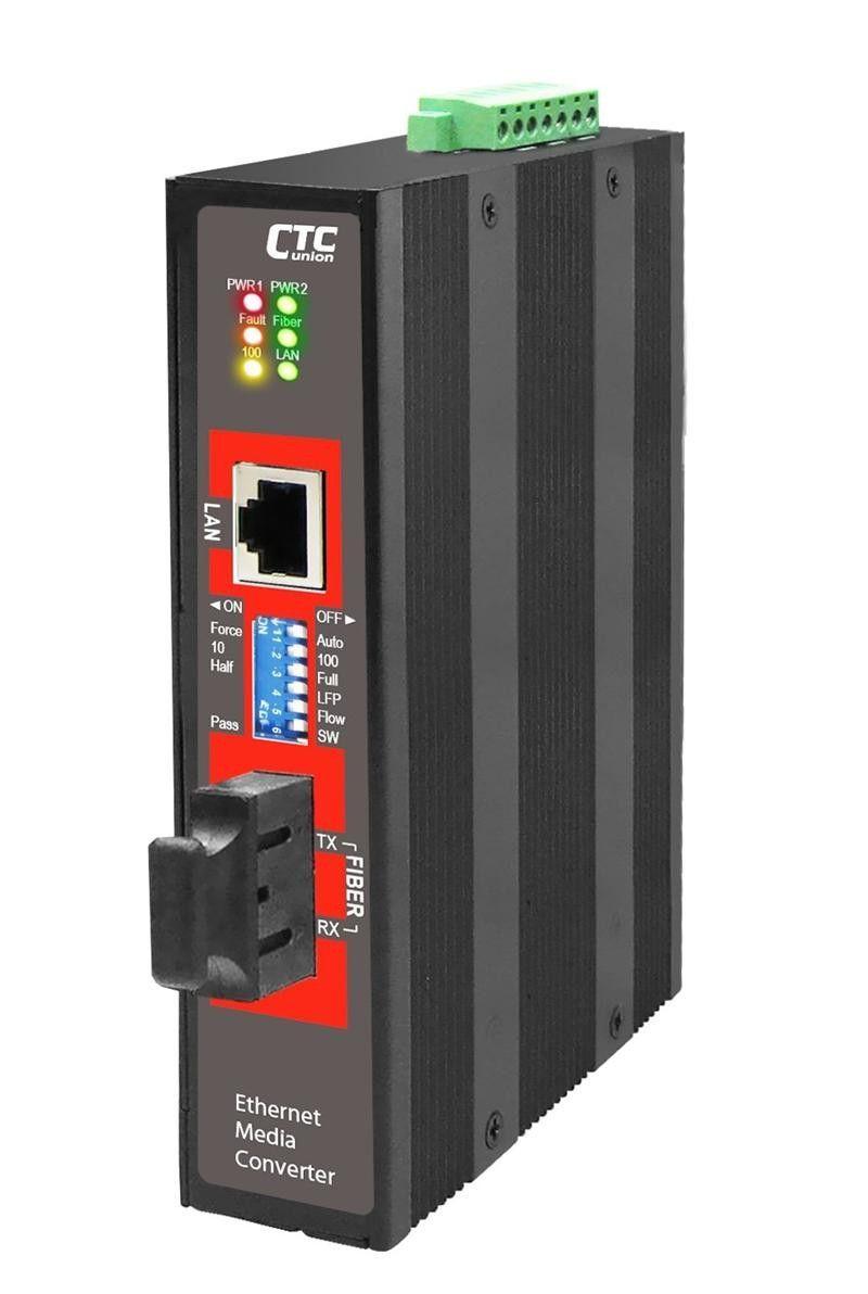IMC-100-E-SC030 - Fast Ethernet 10/100Base-TX singlemode fiber industrial media converter 30Km, -40 - 75 Celsius