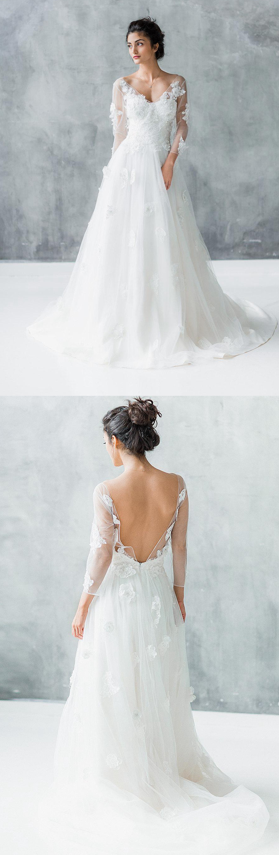 Long sleeve wedding dress lace  Pin by June Bridals on Long Sleeve Wedding Dresses  Pinterest