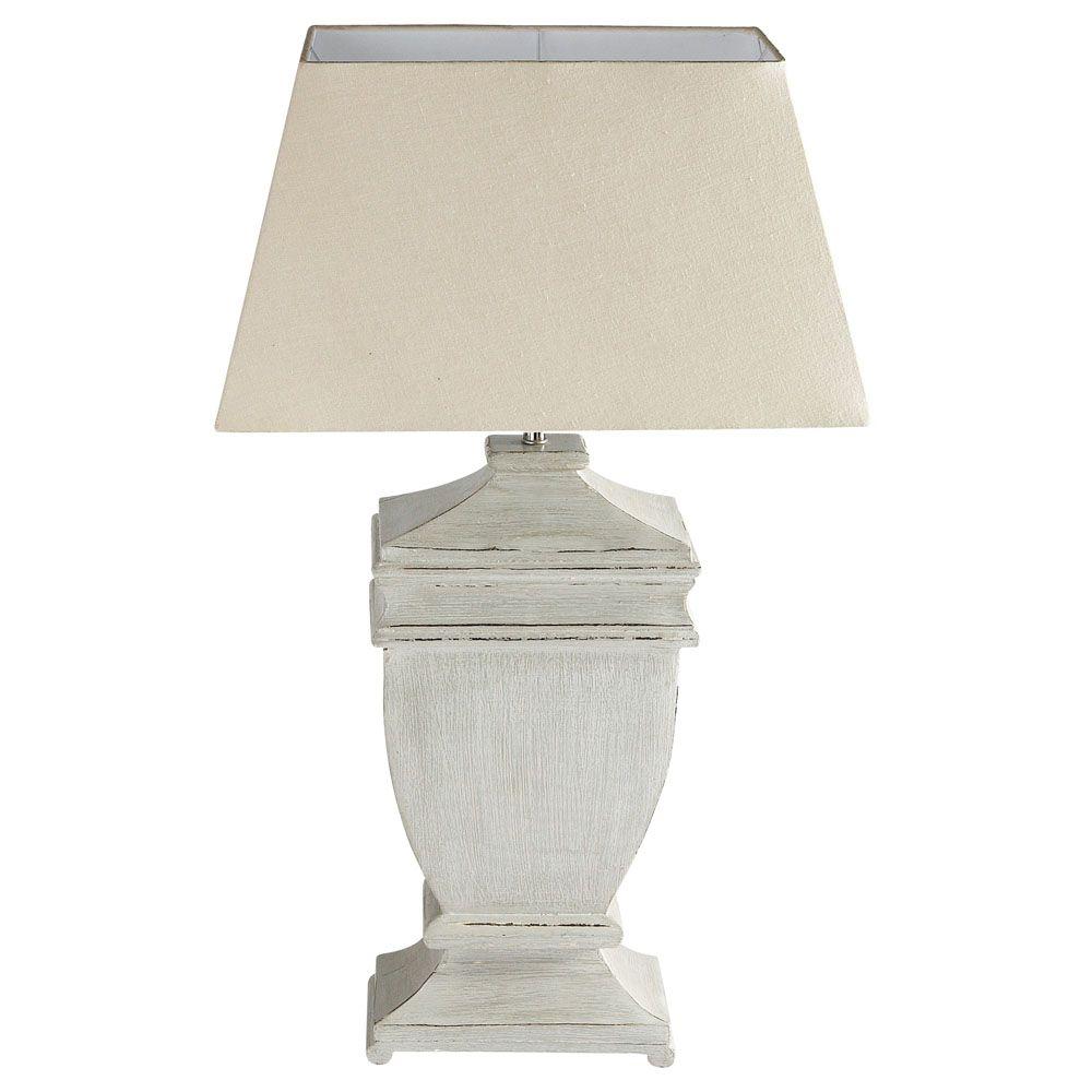 lampe en bois et abat jour en coton crue h 75 cm agora. Black Bedroom Furniture Sets. Home Design Ideas