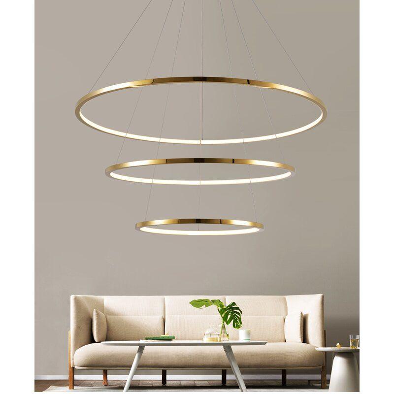 Orren Ellis Dyal 3 Light Unique Statement Tiered Led Chandelier Reviews Wayfair Led Chandelier Crystal Ceiling Lamps Contemporary Living Room