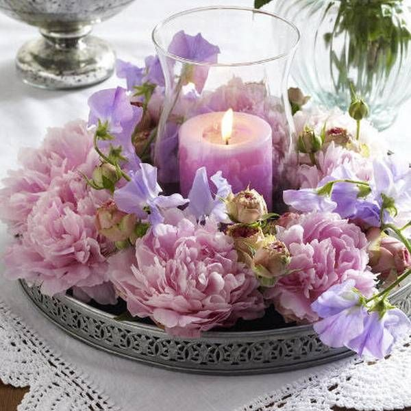 15 Floral Candles Centerpieces With Peony Flowers Floral Candle